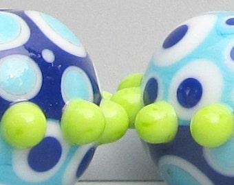 Laguna Duo--ROUNDS--Handmade Lampwork Beads
