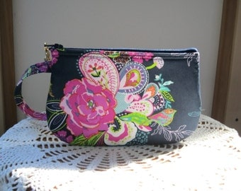 Clutch Wristlet Zipper Gadget Pouch Smart Phone Bag Blooms and Plumes