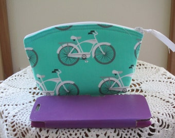 Make up Bag Bridesmaid Wedding Clutch Cosmetic Bag  Purse Retro Cruiser Bikes Made in USA