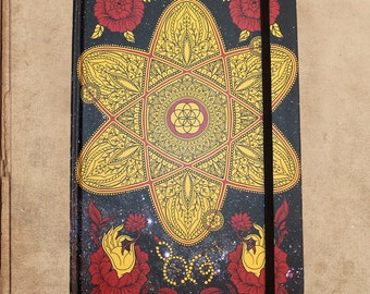 Universe in a Single Atom Notebook Journal - 240 pages - sewn bound - 8.5 x 6 - split blank/lined pages