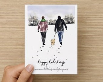 Dog Parents Happy Holidays Season's Greetings Holiday Recycled Paper Folded Greeting Card
