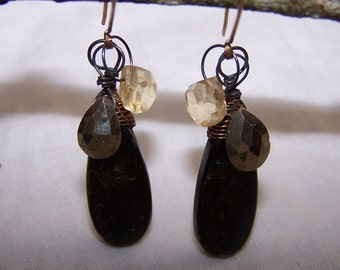 Elongated Pyrite briolette, faceted citrine , oxidized sterling silver, 14k gold fille earwire, earrings
