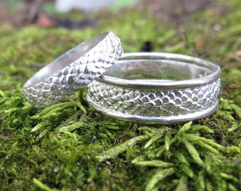 Dragon Scales wedding bands Mother of Dragons Wedding Bands Dragon Skin Rings Lizard Scale Rings Feather Rings Snake skin rings