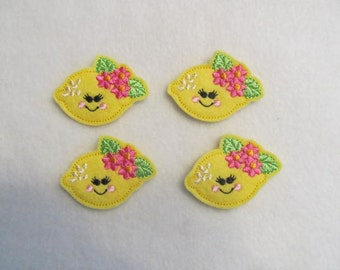 4 Felt LEMON with flowers Applique Embellishments Style YT