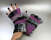 Parfait - Half Finger Crochet Gloves, hand warmers, fingerless gloves, black, gray, pink, white, crochet