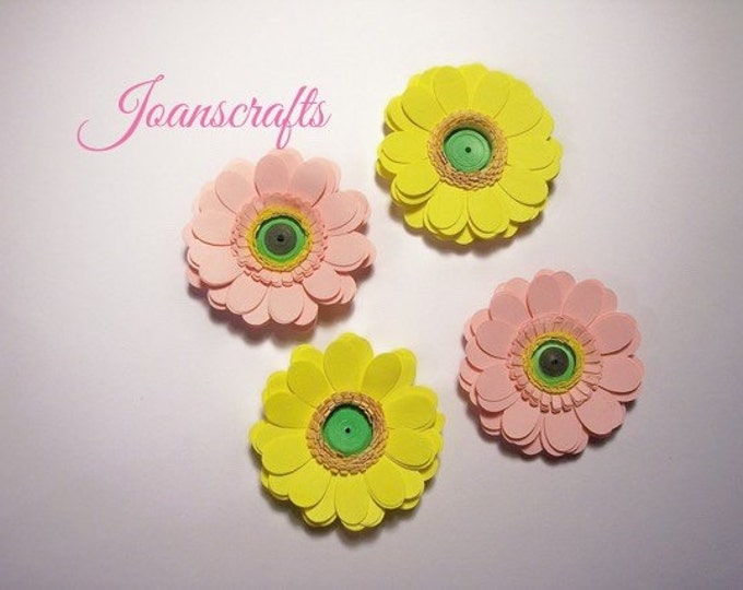 Four Fringed Paper Gerbera Daisies