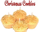 4 Christmas Cookies Cupcake Candle Minis Scented Votive Handmade