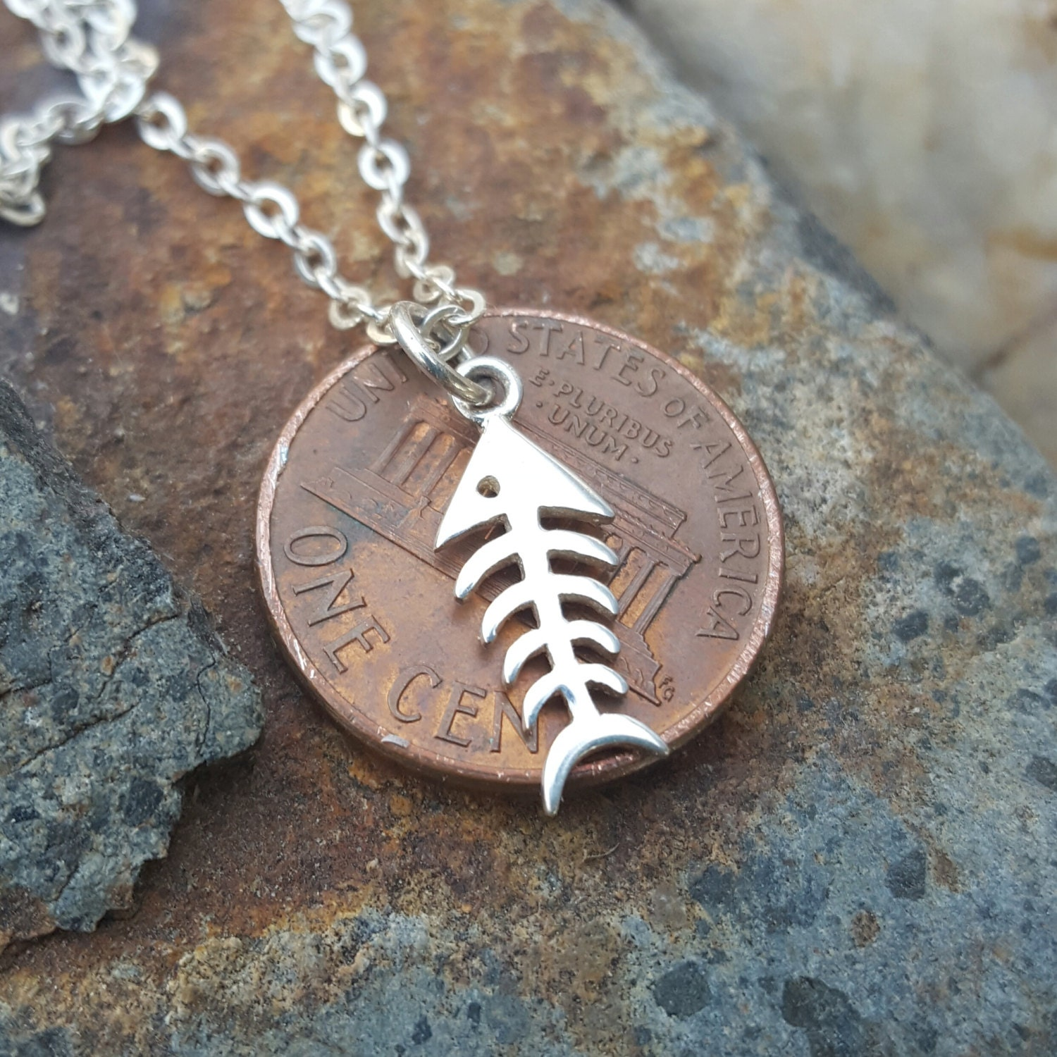 Fish bones charm sterling silver fishbone necklace or for Fish skeleton necklace