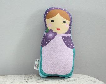 Doll stuffed toy babushka matryoshka PETUNIAS pillow plush softie baby girl gift photo prop stuffed pink brunette blond hair present gift