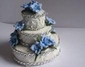 Wedding Cake Ornament decorated with Cold Porcelain Flowers