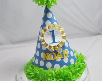 1st Birthday Party Hat Boy- Personalized