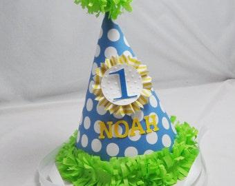 1st Birthday Party Hat,  Boy Blue, Polka dot, Cake Smash Hat, Photo Prop, Custom Birthday Hat, Personalized, First Birthday Photo,
