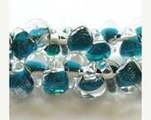 40% Off Sale 10mm Unicorne Tear Drop Lampwork Beads - Dark Aqua - 4 Pieces - 21214