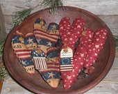YOU CHOOSE - Set of 3 Primitive Rustic Grungy Americana July 4 Patriotic Red White Blue Hearts Bowl Fillers Ornaments Ornies Tucks