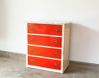 Vintage Shabby Chic Authentically Distressed Red and White Chest of Drawers