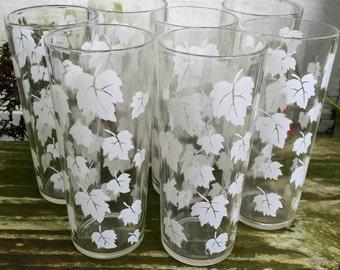 White Maple Leaf Drinking Glasses- Vintage Set of 7