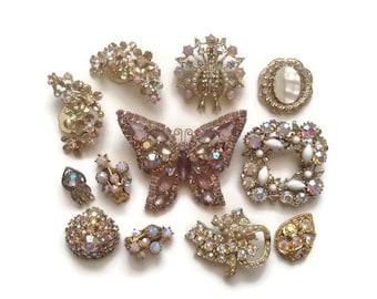Vintage Rhinestone Jewelry Destash Lot, Earrings Brooches