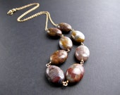 Pietersite Necklace on 14K Gold Fill, Purple Lavender Tan Rust Gemstone Beaded Necklace