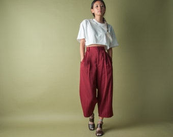 burgundy cropped chino trousers / pleated waist pants / vtg 80s trousers / m / 1721t / B9