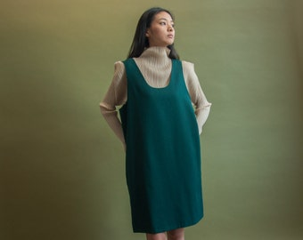 forest green wool jumper dress / shift dress / wool mini dress / s / m / 1825d