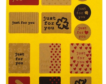 "10 sheets (130 pieces) - Kraft ""Just for you"" Sticker Assortment"