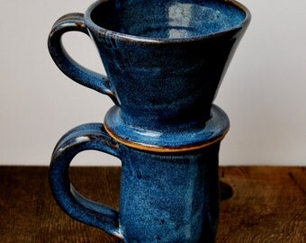 Cobalt Blue Ceramic Coffee Mug and Pour Over Set Stoneware Clay Pottery Makes the Perfect Gift Ready to Ship