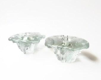 SUMMER SALE Modernist Scandinavian Clear Glass Candlesticks