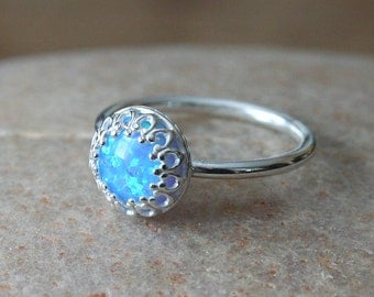 Opal Medium Blue Stacking Ring Crown Gallery Princess Set, Sterling Silver Ring, Blue Opal, Simulated Opal, Size 2 to 15.5, Solitaire Ring