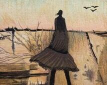 And while I wonder...Machine Thread Painting. Figurative Landscape.