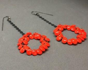long bloom drop earrings in lipstick red bright red beaded dangle chandelier earrings oxidized sterling art earrings sculptural art bright