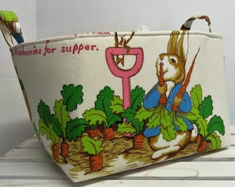Large Diaper Caddy Storage Container Organizer Bin - Nursery Decor - 1 Divider - Vintage Peter Rabbit Beatrix Potter Fabric
