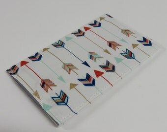 Checkbook Cheque Check Book Receipts Money Case Cover - Multi Color Arrows on White Fabric Tribal Aztec