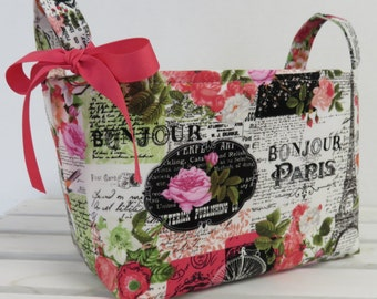 READY TO SHIP - Fabric Organizer Bin Toy Storage Container Basket -  Bonjour - Paris France - Eiffel Tower - Flower Floral