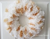 "Paper Coffee Filter Wreath Rustic Decor Round 17"" White & Brown"