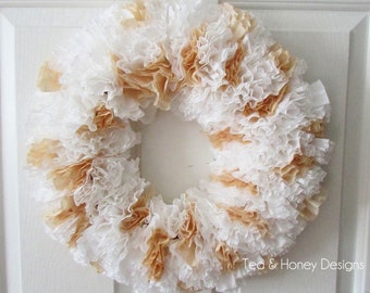 """Paper Wreath, Coffee Filter Wreath, Rustic Decor, Rustic Wedding, Round 17"""" White & Brown"""