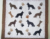 German Shepherd quilt throw size  -  53 x 53 inches