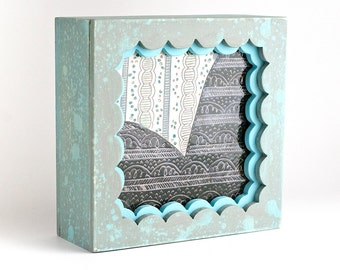 READY TO SHIP - Shadowbox - Wood and Clay - Nature - Woods - Hiking - Mountain - Outdoors