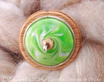 The Clay Sheep Drop Spindle - Lime Green Swirl Top Whorl Drop Spindle - Small 1.06 oz