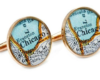 Chicago Map Cufflinks Solid Golden Bronze Heirloom Antique Atlas Windy City Groom Fiance or Dad Gift