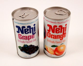 Vintage Nehi Soda Cans 1970's - Grape and Orange - Empty Cans ~ The Pink Room ~ 160909