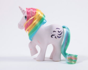 Vintage Rainbow Haired Unicorn My Little Pony Windy With Flaws ~