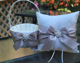White or Ivory Flower Girl Basket with Bow and  Ring Bearer Pillow with Bow - Pearl and Rhinestone Embellishment-Age 4-7