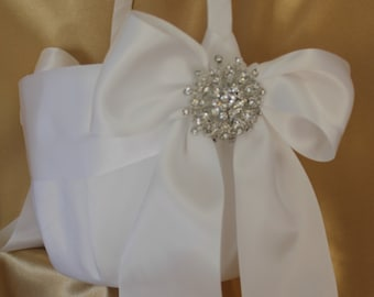 SALE-Large-White  Flower Girl Basket -Your Choice Brooch-Flower Girls Age 8+
