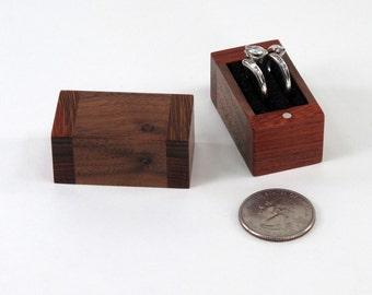 Engagement Ring Box, Wedding Ring Box, Knotty Walnut and Mahogany Ring Box, Single Ring Box, Double Ring Box
