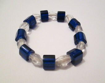 SALE -Blue and Clear Glass Beaded Bracelet