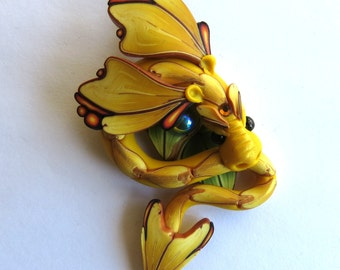 Yellow Dragon Necklace, Fairy Rider, Miniature Polymer Clay Dragon Pendant