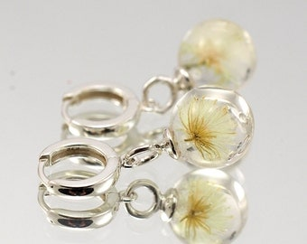 Mini Dandelion Earrings, Silver and Resin Jewellery, Bridal Jewellery