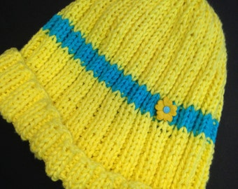 Child's Knit Hat, Yellow and Turquoise