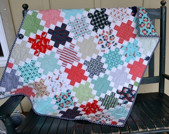 Handmade Baby Girl Quilt Nautical Quilt Red Blue Teal White Green Quilt Toddler Quilt Crib Quilt Nursery Floral Quilt Sailboat Quilt