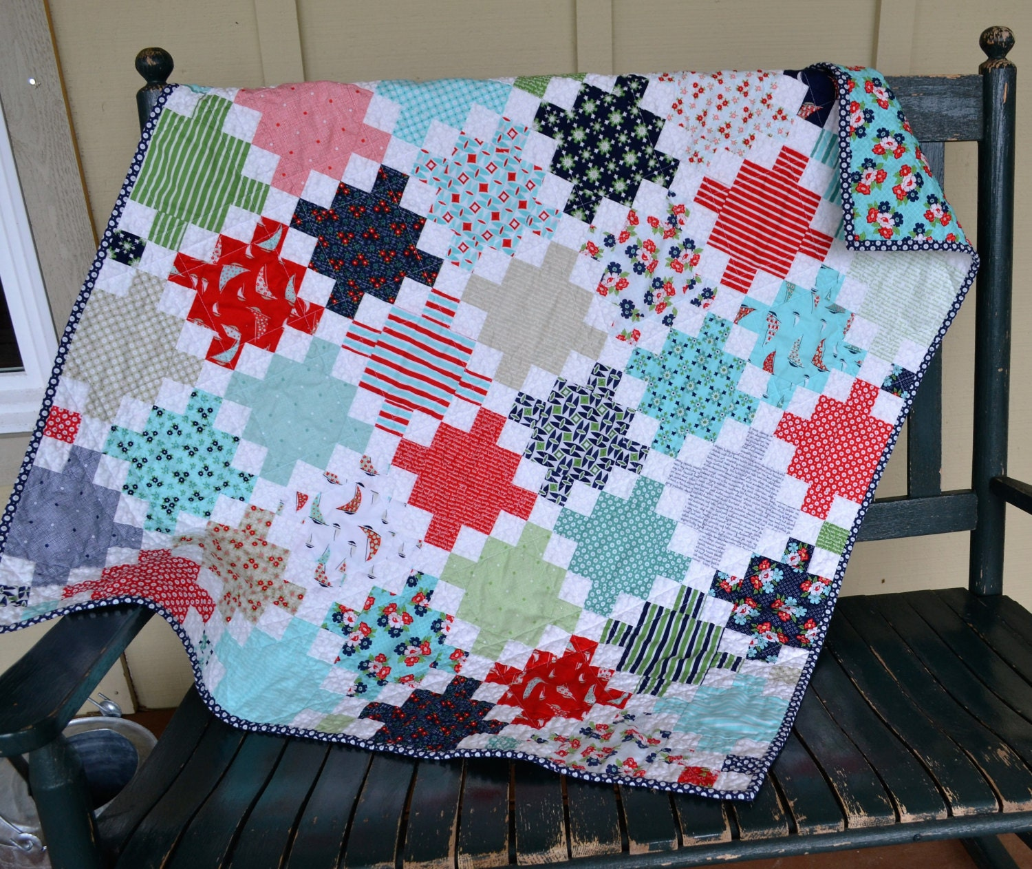 Handmade Baby Girl Quilt Nautical Quilt Red Blue Teal White